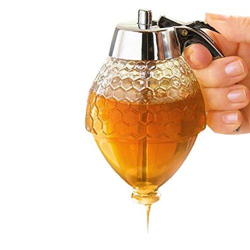Acrylic Honey Dispenser, No Drip Syrup Dispenser Jar with Stand