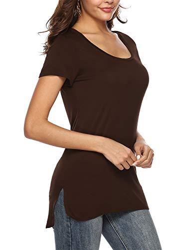 Beluring Damen T-Shirt Rundhals Kurzarm Oberteil Tops Basic T Shirt mit seitlichem Schlitz (M/EU 38-40, Braun)