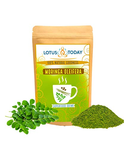 Lotus Today Herbs, Pure Moringa Leaves, for Salad Topping, Herbal Tea or Smoothie, Supergreen Leaves, 200 Grams