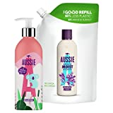 Aussie - Miracle moist kit básico de champú rellenable, botella rellenable y bolsa de recarga, para pelo seco y dañado, 1 kit