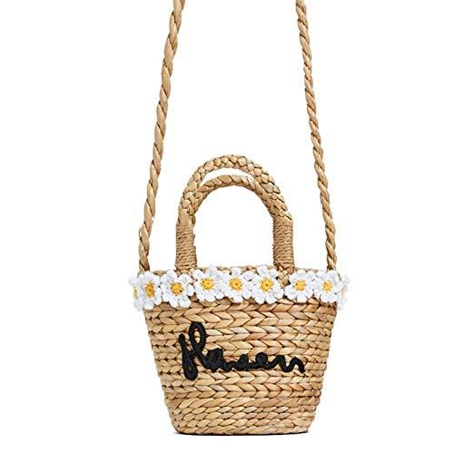 Weberei Reise Umhängetasche Strand horizontale Tasche natürlich schick gewebte Handtasche Retro Sommer Rattan Korb Einkaufstasche Stroh