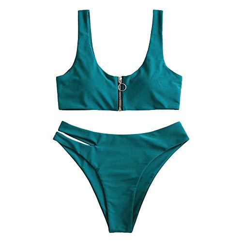 ZAFUL Damen Zweiteilig Bikini-Set, Verstellbarem BH & Reißverschluss Design, Triangle Aushöhlen Badehose (Pfauenblau, S)