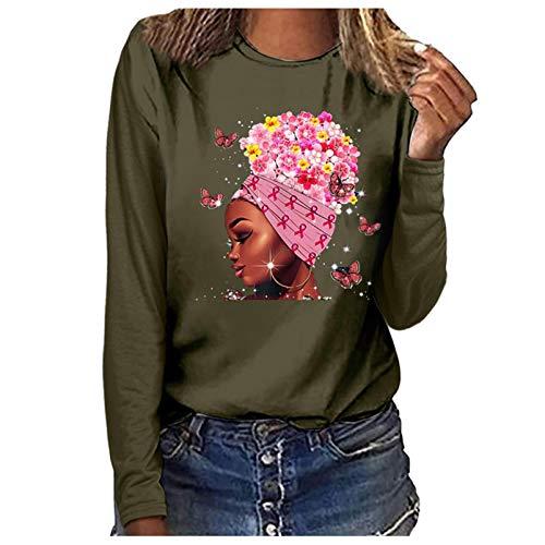 YAnGSale Top Women Casual Blouse Breast Cancer Tops Elegant Ladies Shirt Fashion Printing Sweatshirt Pink Ribbon Pullover (Green, M)