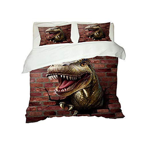 PERFECTPOT King Size Duvet Cover Set 3D Dinosaur Soft Bedding Quilt Set with 2 Pillowcases in Polyester with Zipper Closure for Boys Girls Adults, 230x220