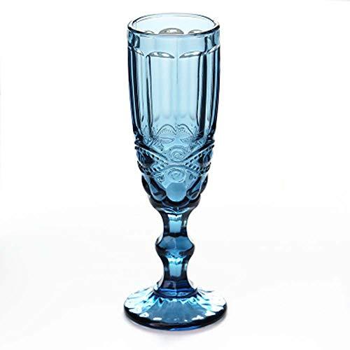 Keramik Ornament Vintage Farbe Geprägte Champagner Gläser Kreative Saft Tasse Glas Becher Wein Set, Diamant Rot + Blau + Grün,B