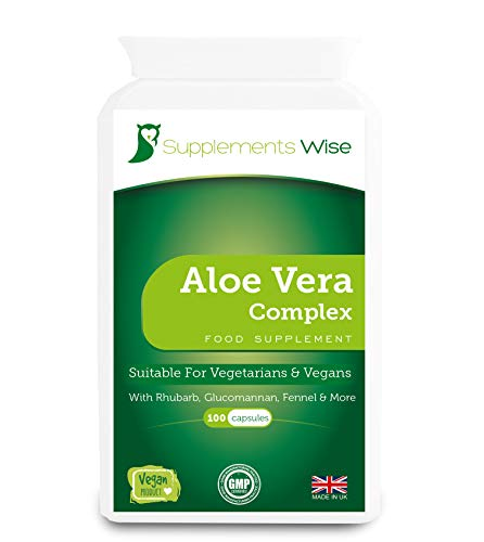Aloe Vera Complex - 100 Capsules - Colon Cleanse and Flush - Gentle and Effective Detox for The Body - Powerful Natural Ingredients Including Rhubarb, Cayenne, Fennel, Ginger with Glucomannan