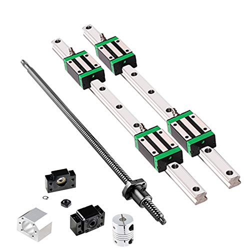 GooEquip Linear guide HGR20 800 mm linear rail with 4 pieces sliding block + 1 piece SFU1605 800 mm ball spindle with ball nut, BF12/BK12 support, DSG16H, coupling for 3D printer CNC machine