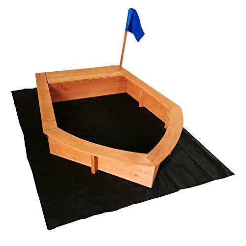 Bac à sable Forme de Bateau Drapeau 150x108x50cm Bois Sol Non-tissé Jardin Jeux plein air