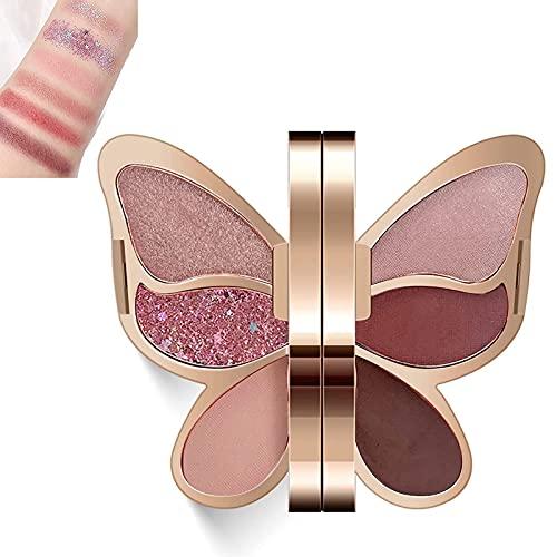 Heroicn Paleta Sombras Ojos, 6 Colores Mariposa Polvo Sombra Ojos Larga duración Prueba dagua, Brillos resaltan Sombra Paleta Maquillaje Juego portátil Mujeres niñas (Color : 4#)