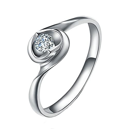 Amody Anillos Oro Blanco Mujer, Anillos para Mujer de Compromiso Retorcido Diseño 0.12ct Redonda Diamante Tamaño 21