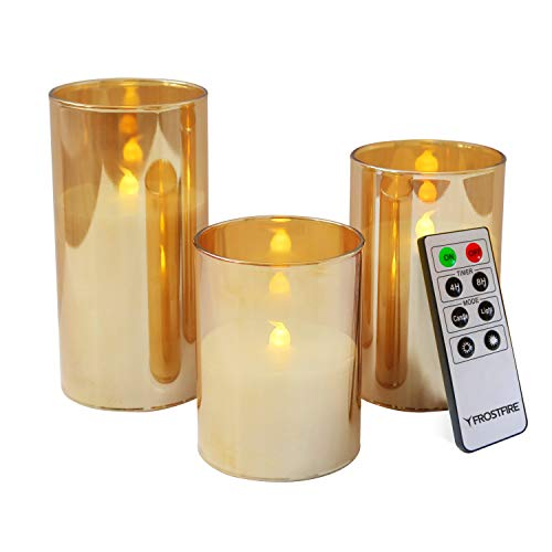 Mooncandles - 3 Gold Glass Real Wax Flameless LED Candles with Timer and Remote Control