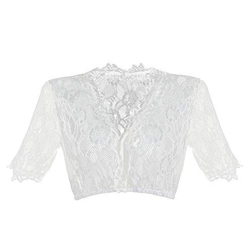 HBBMagic Dirndlbluse Damen Weiß Dirndl Bluse Spitze Trachtenbluse für Oktoberfest Größe 32-42, Weiß, 42