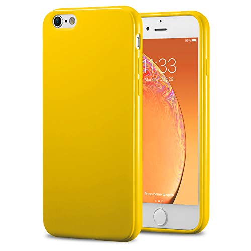 TENOC Phone Case Compatible for Apple iPhone 6S Plus and iPhone 6 Plus 5.5 Inch, Slim Fit Cases Soft TPU Bumper Protective Cover, Glossy Yellow Illinois