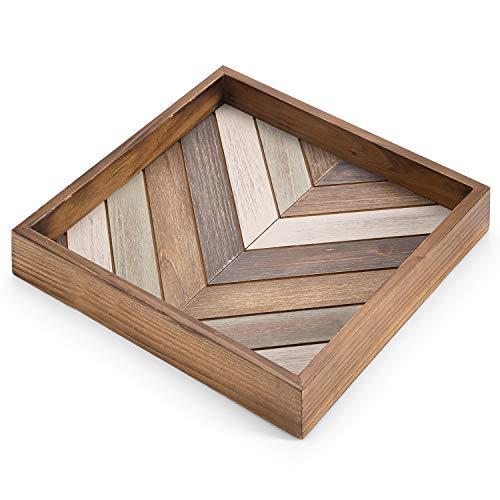 MyGift Multicolored Wood Square Chevron Design Decorative Serving Tray Ottoman Coffee Table Accent Tray
