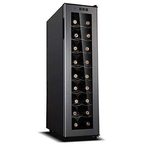 Enfriador de Vino eléctrico, Enfriador de Puerta de Vidrio con Pantalla Digital de Temperatura, Funcionamiento silencioso Refrigerador silencioso, Ahorro de energía