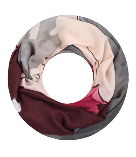 Majea Damen Loop Schal viele Farben tolle Muster Schlauchschal Halstücher (rot 26)