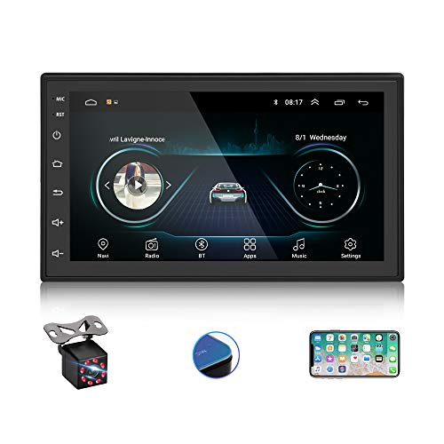 EKAT Android Double Din Car Stereo with Bluetooth,7-inch HD Touch Screen Auto Radio with FM/AUX in/WiFi/USB, Mobile Phone Mirror Link + 8LED Backup Camera