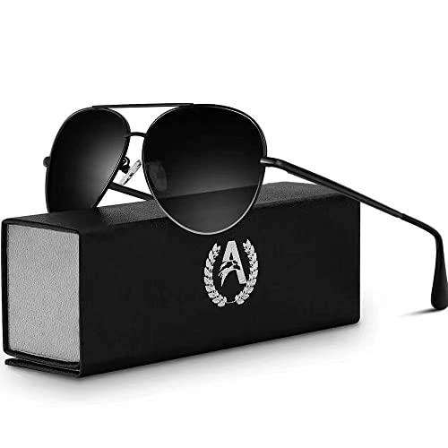 VVA Gafas de sol Hombre Polarizadas Piloto Hombres Piloto Gafas de sol Polarizadas Hombre Unisex Protección UV400 por V101(Negro/Negro)