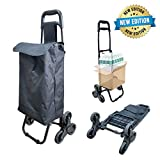 Carrito de compras plegable 6 ruedas | Carro de la compra con thi-rueda | Carro plegable 2 en 1 | Carro para escalada de escalera | Subir y bajar escaleras