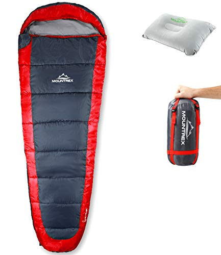 MOUNTREX® Schlafsack – Ultraleicht & Kompakt (850g) - Outdoor Sommerschlafsack - Mumienschlafsack (205x75cm) - Kleines Packmaß und Leicht - für Jugendliche und Erwachsene + Bonus Reisekissen