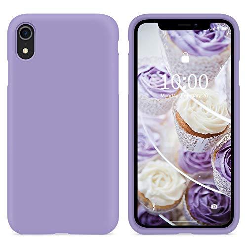 SURPHY Cover Compatibile con iPhone XR, Custodia per iPhone XR Silicone Cover Antiurto con Fodera in Microfibra, Anti-Graffio Full Body Protettiva Case per iPhone XR 6.1 Pollici (2018), Lavanda