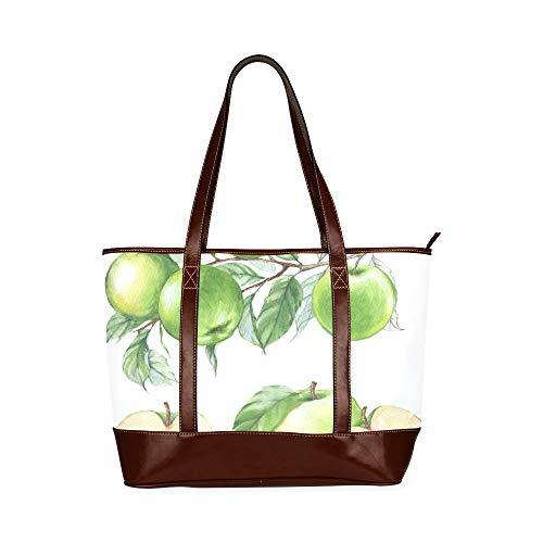 QIAOLII Grüner Apfel Gesunde Frucht Damen Umhängetaschen Tägliche Einkaufstasche Große Kapazität Gedruckte Einzigartige Handtaschen Mit Reißverschluss Oberer Griff