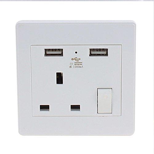 Aexit AC 110V-250V UK-Buchse 2 USB-Port 5VDC 1000mA Ladegerät Power LED-Lampenschalter Outlet (e113bf96f907bfbc9ace5488e68fc772)