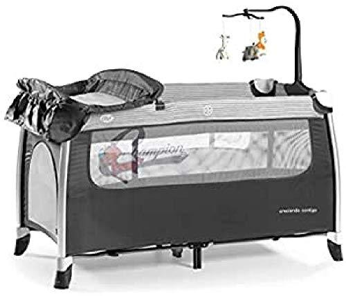 Innovaciones Ms 630303 Cuna De Viaje Chasis Aluminio con 2 Alturas, Cambiador, Gatera y Carrusel de Juegos, Gris Oscuro
