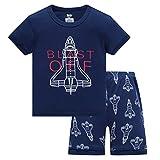 HIKIDS - Pijama Corto para niño - Pijamas de Manga Corta Verano para Niños - Pijama Dos Piezas Summer niño - Pijamas de Manga Corta para niños Cohete Espacial - Azul Marino - 7 Años