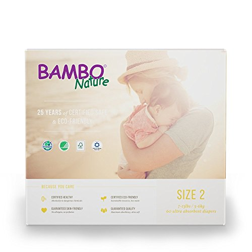 Bambo Nature Eco Friendly Baby Diapers Classic for Sensitive Skin, Size 2, 60 Count (2 Packs of 30)