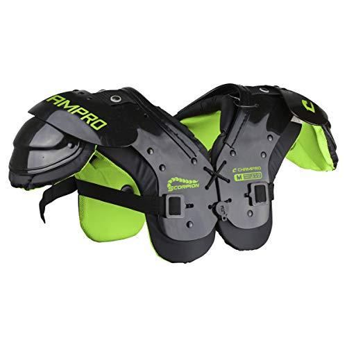 CHAMPRO Scorpion Youth Football Shoulder Pad, Black, NEON Green, 40-60 lbs