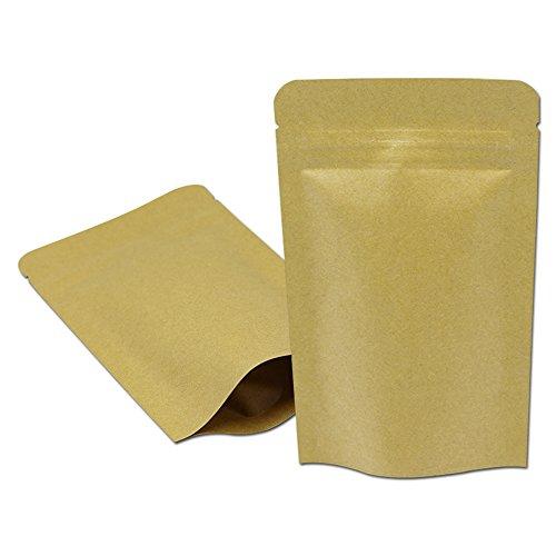 50 個 ブラウン クラフト紙 スタンドアップ 自立袋 茶色 ジップロック アルミ箔バッグ ヒートシール可能 ジッパー コーヒー 粉 スナック ナッツ 食品袋 パッケージ袋 防湿 防水 キッチン収納 保存用バッグ (13 x 21 cm)