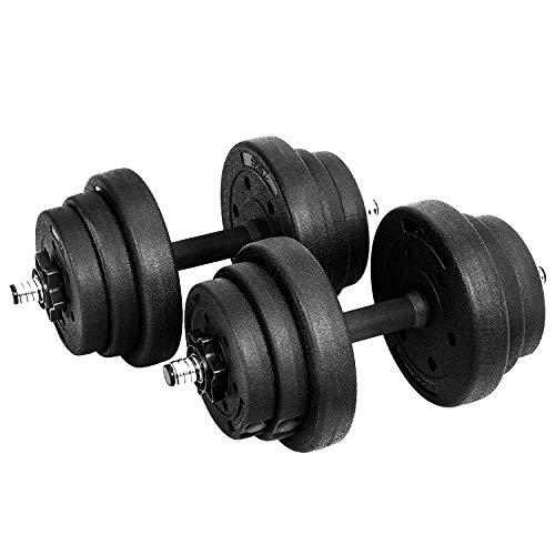 SONGMICS Juego de Pesas, Mancuernas de Fitness, Ideal para Hombres, 20 kg, Negro SYL20H