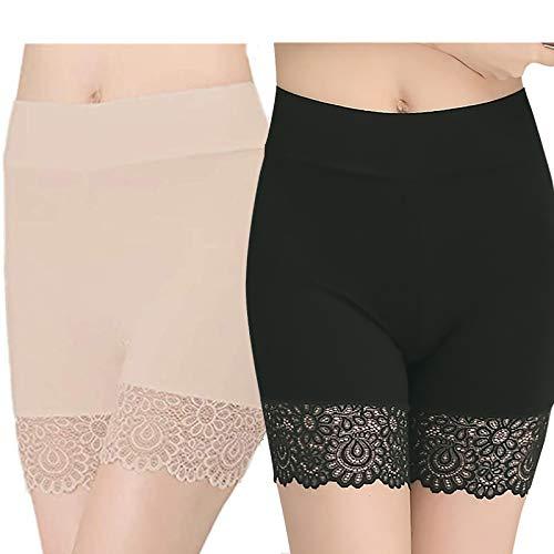 YELYAN Unterhosen Radlerhose Boxershorts Damen Slipshorts Kurze Leggings Radlerhose Sommer Hohe Taille Unterhosen BK+SK-style1