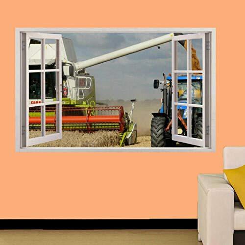 Pegatinas de pared Cosechadora TRACTOR CAMPO DE TRIGO ETIQUETA DE PARED CARTEL OFICINA DECORACIÓN CALCOMANÍA MURAL cartel papel tapiz- 80×120cm