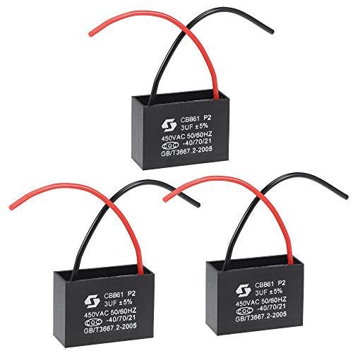 sourcing map Techo Ventilador Condensador CBB61 3uF 450V AC 2 Cables Metalizado...