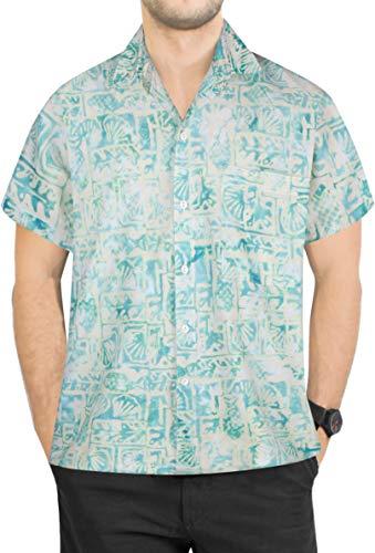 LA LEELA Casual Hawaiana Camisa para Hombre Señores Manga Corta Bolsillo Delantero Surf Palmeras Caballeros Playa Aloha M-(in cms):101-111 Verde_W626