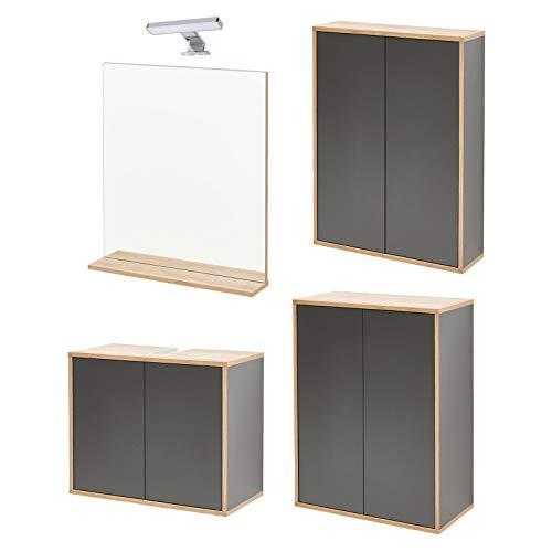 FACKELMANN Dunkles Badmöbel Set Finn 5-TLG. grau anthrazit hängend 60 cm & Badspiegel mit LED Aufsatzleuchte