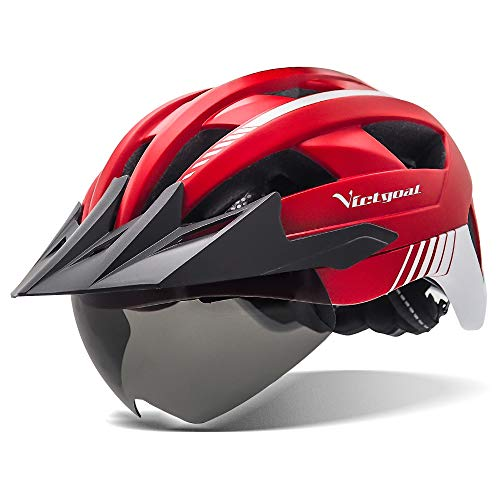 Victgoal Bike Helmet with USB Rechargeable LED Light Removable Magnetic Goggles Visor Breathable MTB Mountain Bicycle Helmet for Unisex Men Women Adjustable Cycle Helmets (Red)