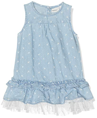 Name It Nbfabiana DNM 1207 Dress AOP Robe, Bleu (Light Blue Denim Light Blue Denim), 68 Bébé Fille