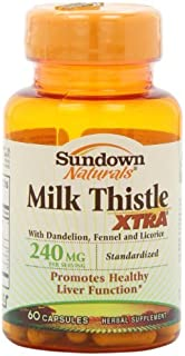 Sundown Naturals Milk Thistle XTRA 240 mg, 60 Capsules - Buy Packs and Save (Pack of 2)