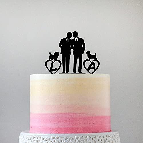 Decoración de acrílico para tartas de boda con diseño de perro gay y el mismo sexo para hombres, para Halloween, despedida de soltera, aniversarios, cumpleaños, 6 pulgadas.