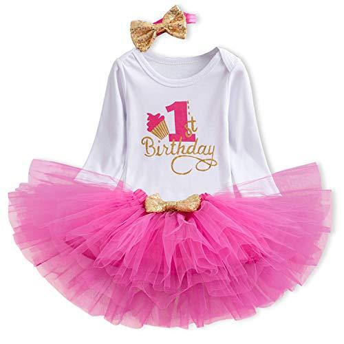 TTYAOVO Bambina 1 ° Compleanno Principessa Tutu Gonna Vestiti 3 Pezzi Set Abiti Pagliaccetto + Gonna + Fascia (+ Leggings) 4-24 Mesi (1 Anni, 06 Rosa Rossa)