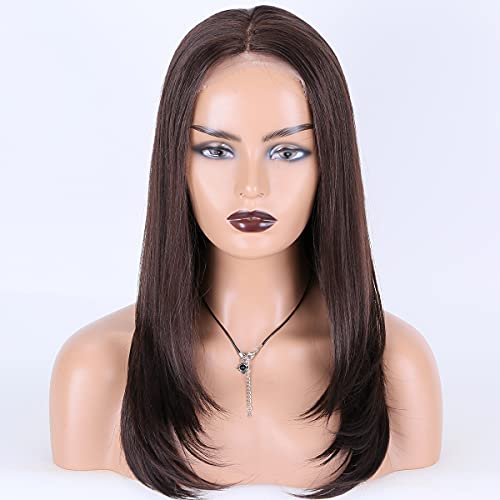 """Miss Diva Long Natural Straight Wigs Synthetic Lace Front Wigs 18"""" For Women Replacement Wigs Natural Looking Heat Resistant Fiber"""
