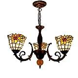 Lámparas de soporte Tiffany Lámpara pendiente de Tiffany manchado del estilo de la lámpara de cristal Idílico girasol cortinas de la...