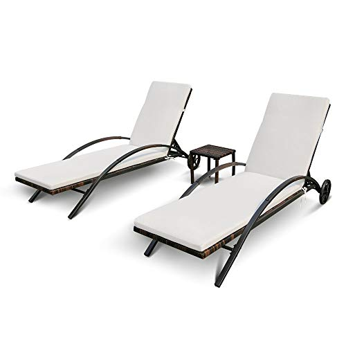 Garden Rattan Furniture 3PCS Sun Lounger Set with Side Table Adjustable Back Outdoor Patio