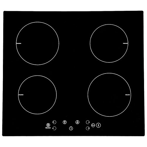 Plaque de cuisson à induction 4 Foyers, 60 cm, 4 brûleurs Placa de inducción, Encastrable Table de cuisson à induction, plaque de cuisson électrique portable Tactiles Plaque, verre satiné (6300W)