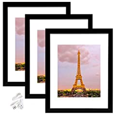 MULTIPLE FRAMES & STURDY MATERIAL: Set of 3 pieces in the same sizes for neat and uniform wall decoration. Lightweight but well made, come with high definition glass, better protection from scratches. SIZE: One wall black photo frame fits 11x14 frame...