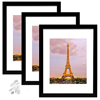 upsimples 11x14 Picture Frame Set of 3,Made of High Definition Glass for 8x10 with Mat or 11x14 Without Mat,Wall Mounting Photo Frame Black