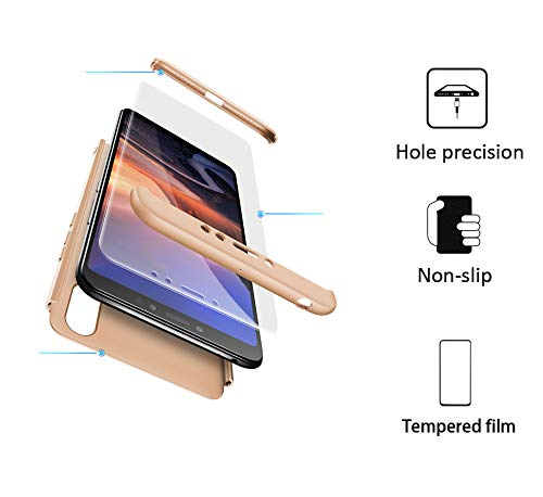 xinyunew Hülle kompatibel mit Xiaomi Mi Max 3+Panzerglas Schutzfolie,Superleichte Superdünne 3 in 1 PC Schutzhülle Etui Stoßfeste Kratzfeste Handyhülle mit 360 Grad R&umschutz Gold